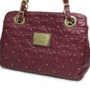 Nicole Miller Maroon Gold Quilted Purse Handbag